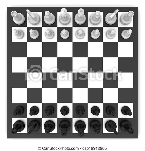Chess top view. Black and white chess board top view.
