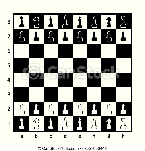 Chess board with chess pieces. - csp57006442