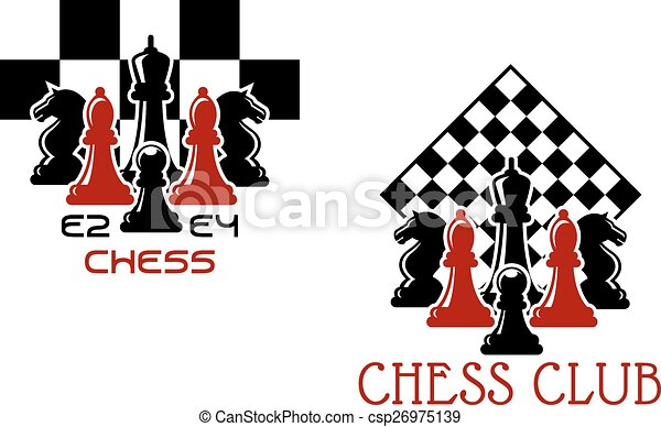 Chess Club Sport Emblems Or Symbols With Chessmen Ant Turned Chess