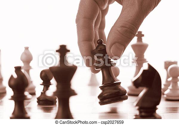 Chess game black queen advances  - csp2027659