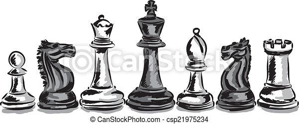 chess game pieces concept illustrat - csp21975234