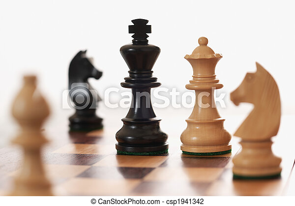 Chess game white queen challenging  black king - csp1941342