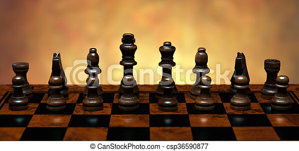chess game with pieces on the table - csp36590877