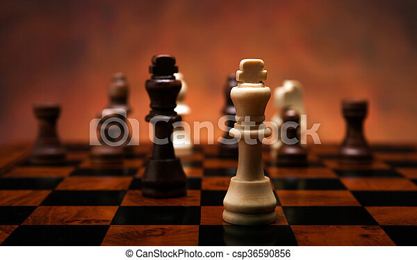 chess game with pieces on the table - csp36590856