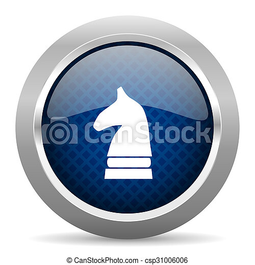 chess horse blue circle glossy web icon on white background, round button for internet and mobile app - csp31006006