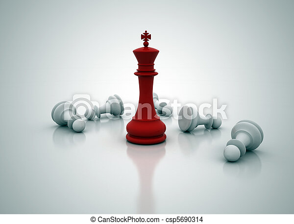 Chess king standing - game over - csp5690314