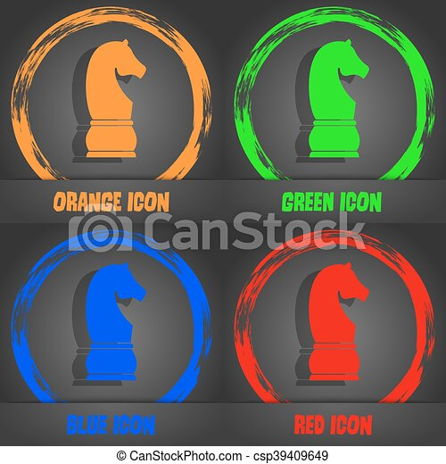 Chess knight icon. Fashionable modern style. In the orange, green, blue, red design. Vector - csp39409649