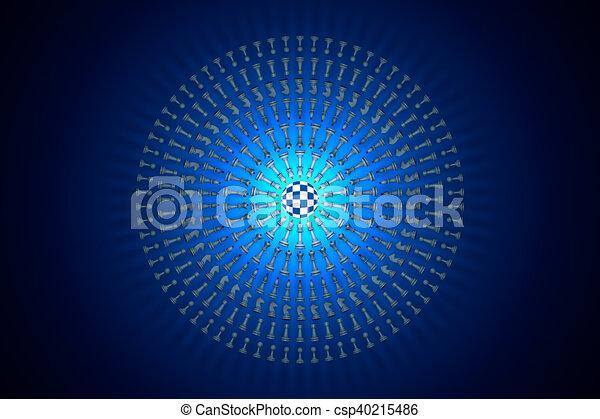 Chess matrix (metaphor). Hi-tech ornament. 3D render illustration - csp40215486