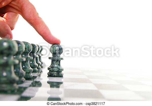 Chess piece moving forward on the board - csp3821117