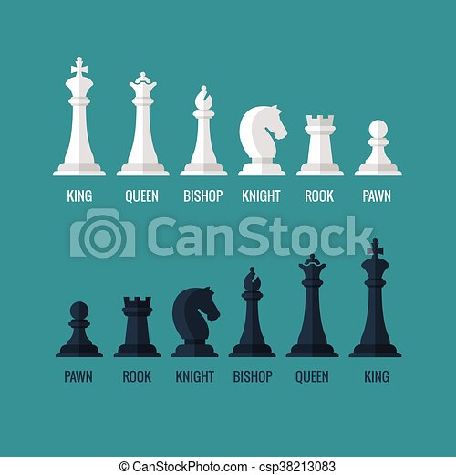 Chess Pieces King Queen Bishop Knight Rook Pawn Flat Vector Icons