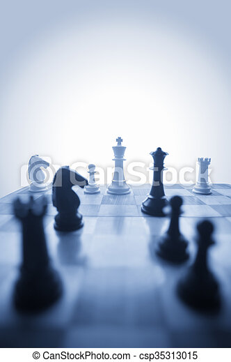 Chess pieces on a board - csp35313015