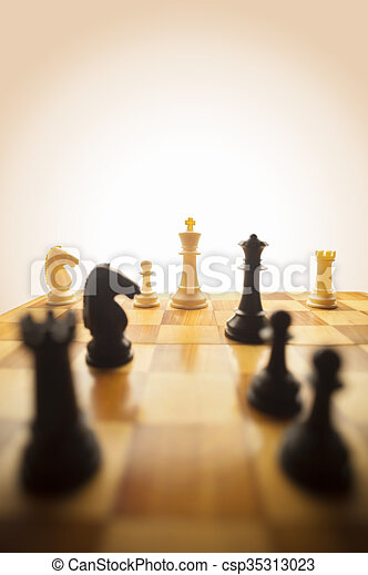 Chess pieces on a board - csp35313023