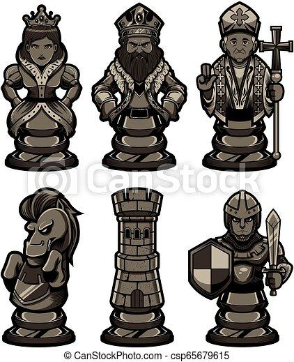 Chess Pieces Set Black 2 - csp65679615