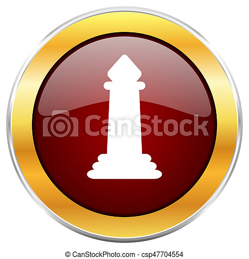 Chess red web icon with golden border isolated on white background. Round glossy button. - csp47704554