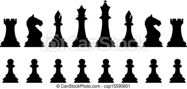 Chess set. Editable vector silhouettes of a set of ...
