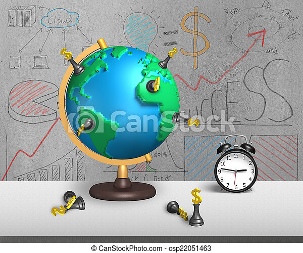 Chess stand on 3d map globe with alarm clock dollar chess stock chess stand on 3d map globe with alarm clock csp22051463 gumiabroncs Gallery