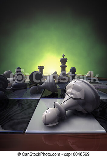 Download 3d rendering of a closeup of a chessboard with a broken pawn.