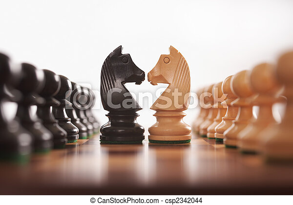 chess two rows of pawns with knight challenge centre - csp2342044