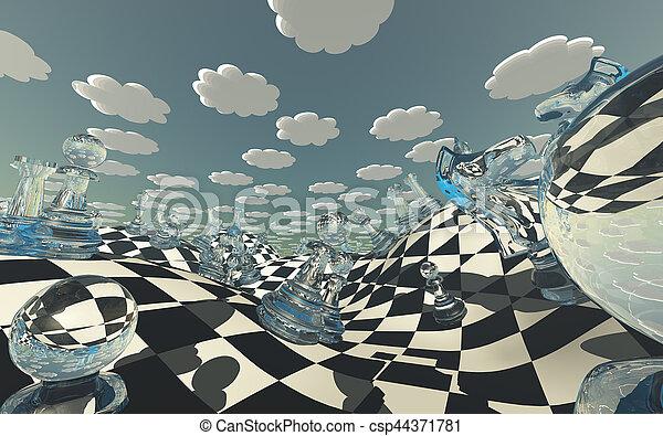 Chessboard Fantasy Landscape - csp44371781