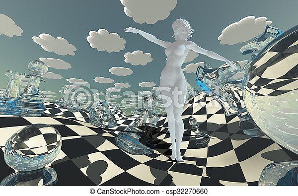 Chessboard Fantasy Landscape - csp32270660