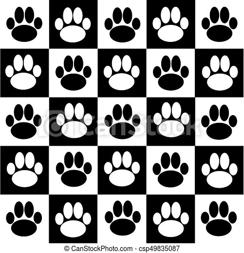 Chessboard With Dog Paws