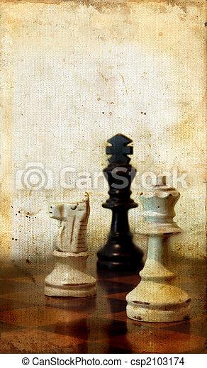 Chessmen on a Grunge Background - csp2103174