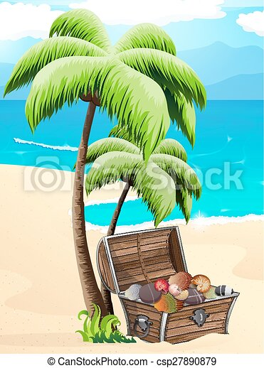 Chest with seashells on a tropical beach - csp27890879