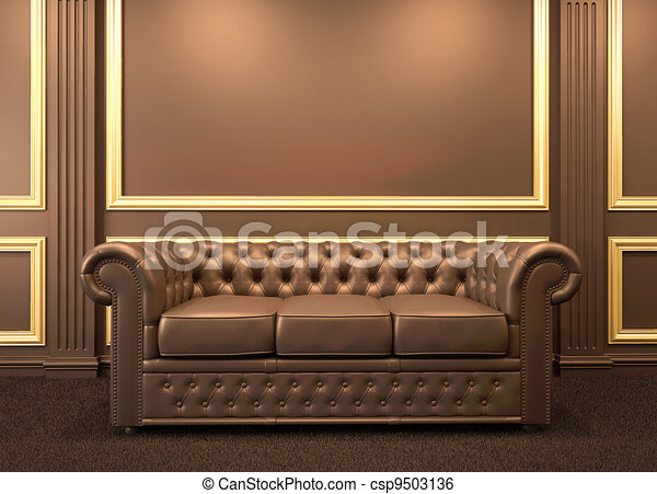 Chesterfield modern sofa in wooden interior with gold frame.