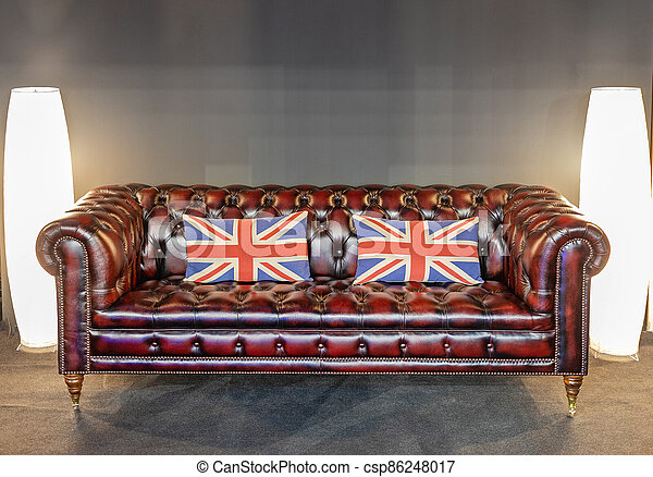 British Flag Pillows At Leather Chesterfield Sofa Canstock