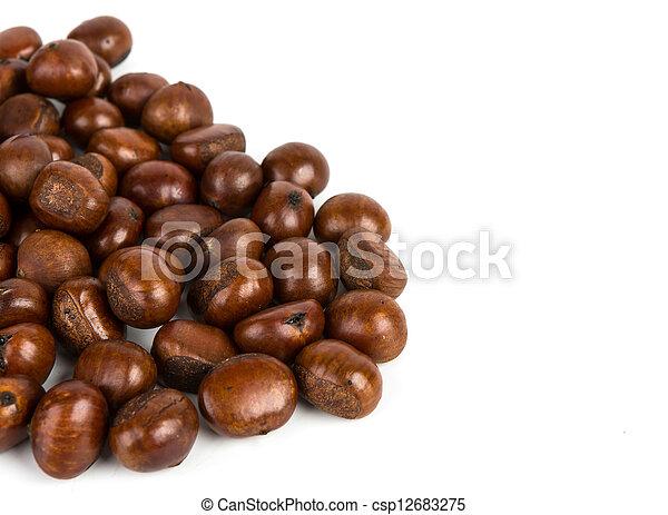 Chestnut on white background - csp12683275