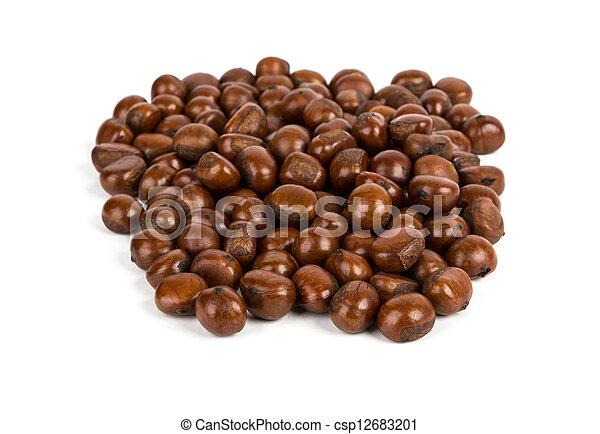 Chestnut on white background - csp12683201