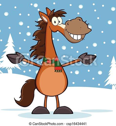cheval, caractère, dessin animé, mascotte - csp16434441