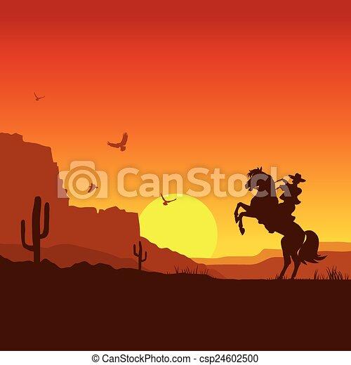 cheval, cow-boy, ouest, américain, sauvage, déserter paysage - csp24602500