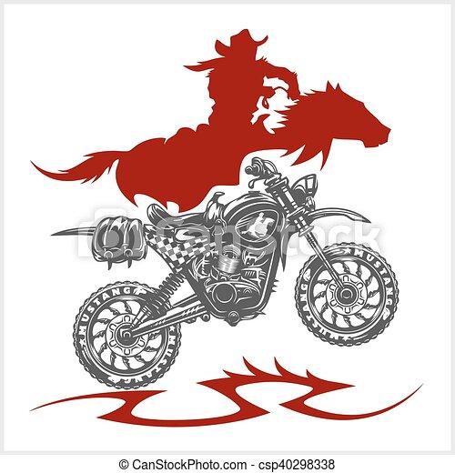 dessin cheval moto