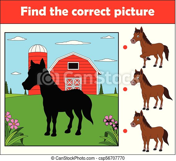 cheval, ferme, trouver, jeu, image, children., education, correct - csp56707770