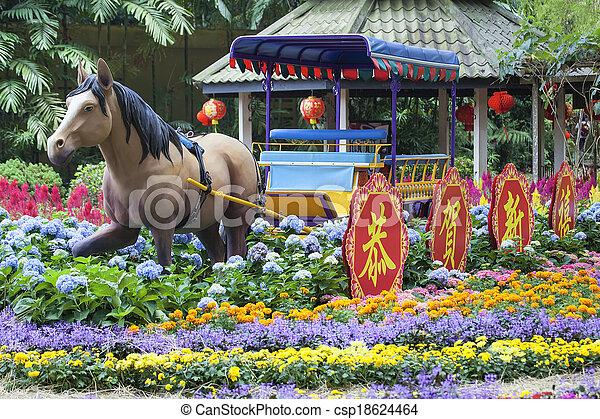 Cheval, jardin, chinois, singapour, décoration, année,... image de ...