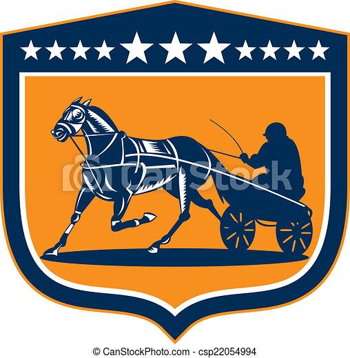 cheval, jockey, bouclier, harnais, retro, courses - csp22054994