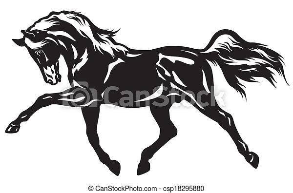 image cheval dessin noir et blanc
