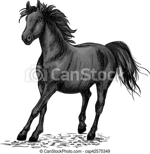 Cheval noir courses galop beau crayon galop cheval - Dessin cheval de course ...