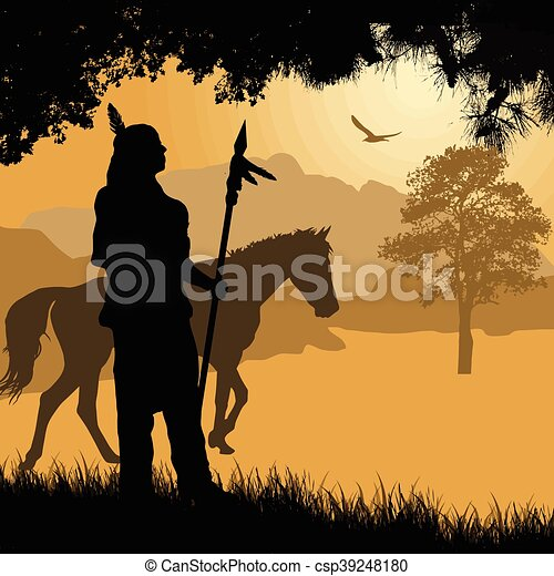 Cheval silhouette lance indien am rique indig ne beau cheval silhouette indien lance - Dessin anime indien cheval ...