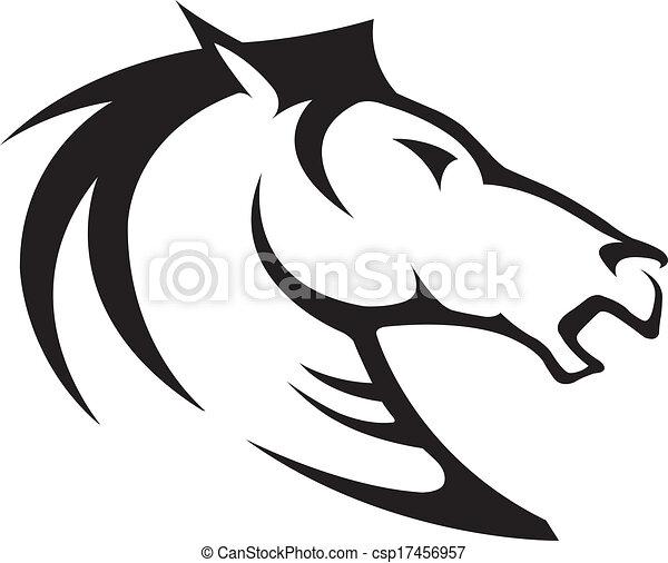 Cheval t te fichiers illustr cheval profile buste lev vecteur noir white - Clipart cheval ...