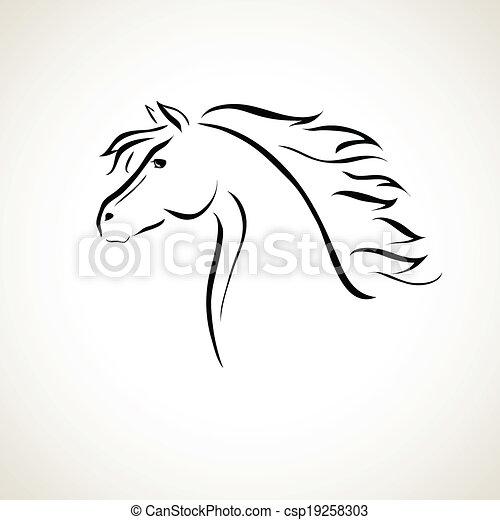 Cheval vecteur dessin cheval stylis vecteur figure - Dessin tete de cheval ...