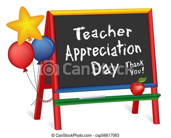 chevalet, prof, appréciation, jour, tableau, étoiles, ballons, enfants - csp56617063