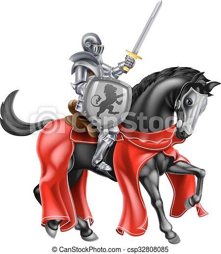 Chevalier, cheval. Tenue, épée, chevalier noir, cheval ...