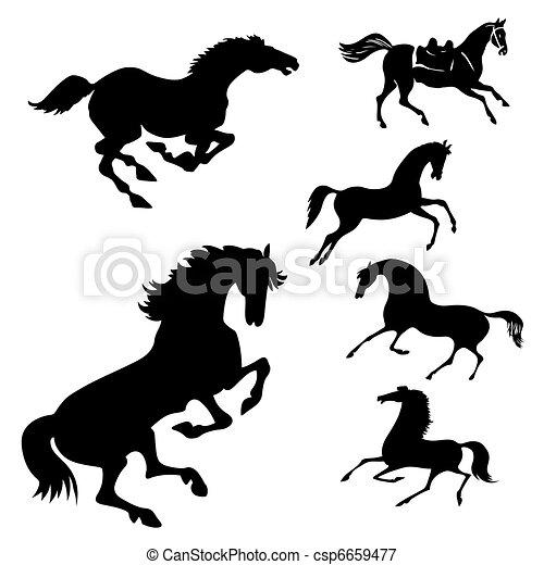 chevaux, blanc, ensemble, fond, vecteur - csp6659477