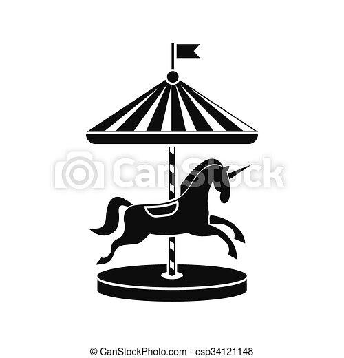 Carrousel Dessin chevaux, carrousel, icône. chevaux, fond, simple, isolé, noir