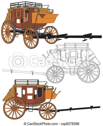 chevaux, diligence, sans - csp8378396