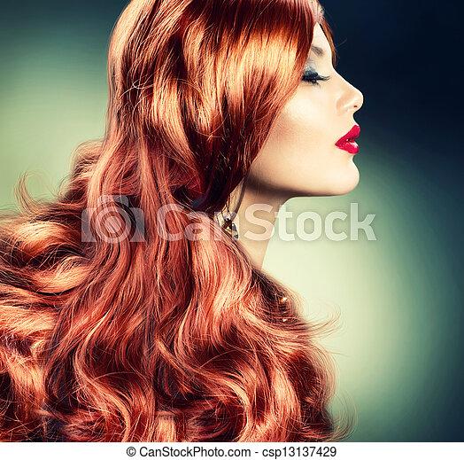 chevelure, girl, mode, rouges, portrait - csp13137429