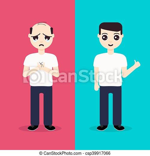 cheveux, avant, après, régénération, homme - csp39917066