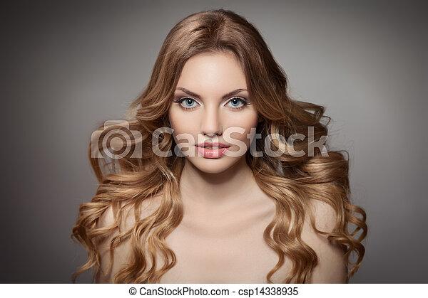 cheveux, beauté, portrait., bouclé, long - csp14338935